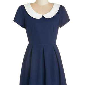 ModCloth Record Time A-Line Dress in Navy